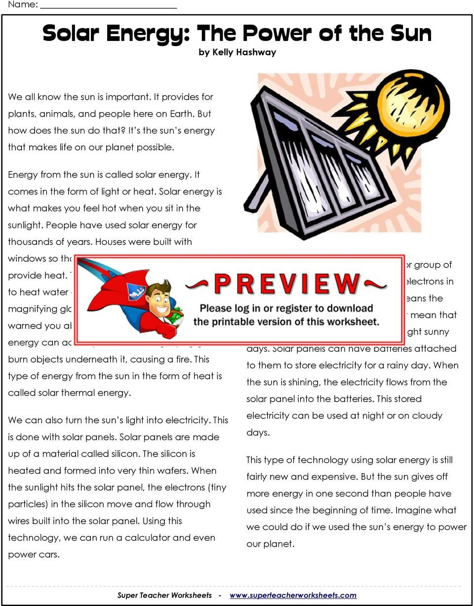 Energy 4th Grade Worksheets solar Energy the Sun by Kelly Hashway Pdf Free Worksheets