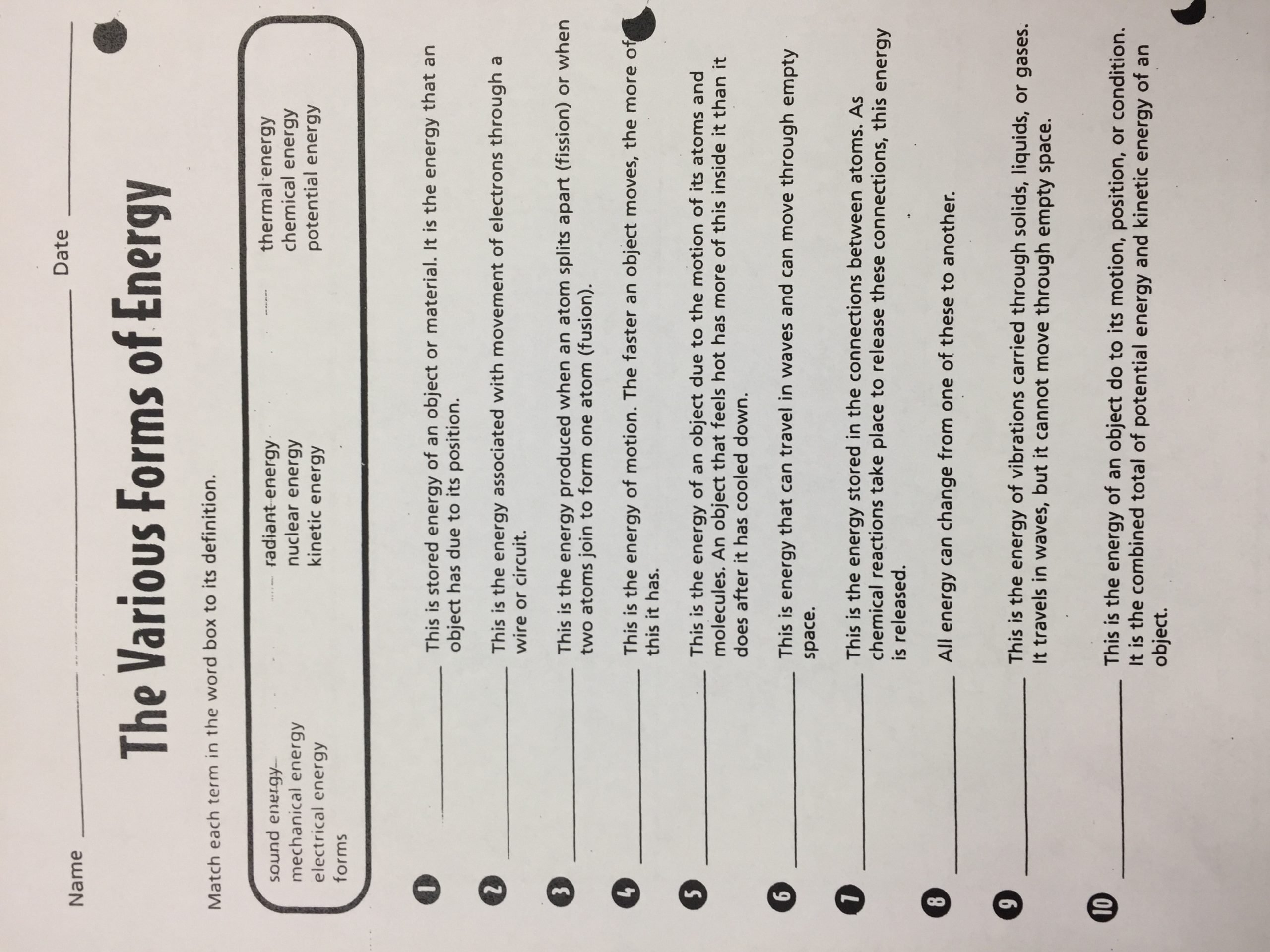 Energy Worksheets for 4th Grade Michelle Hufstetler Bainbridge Middle School