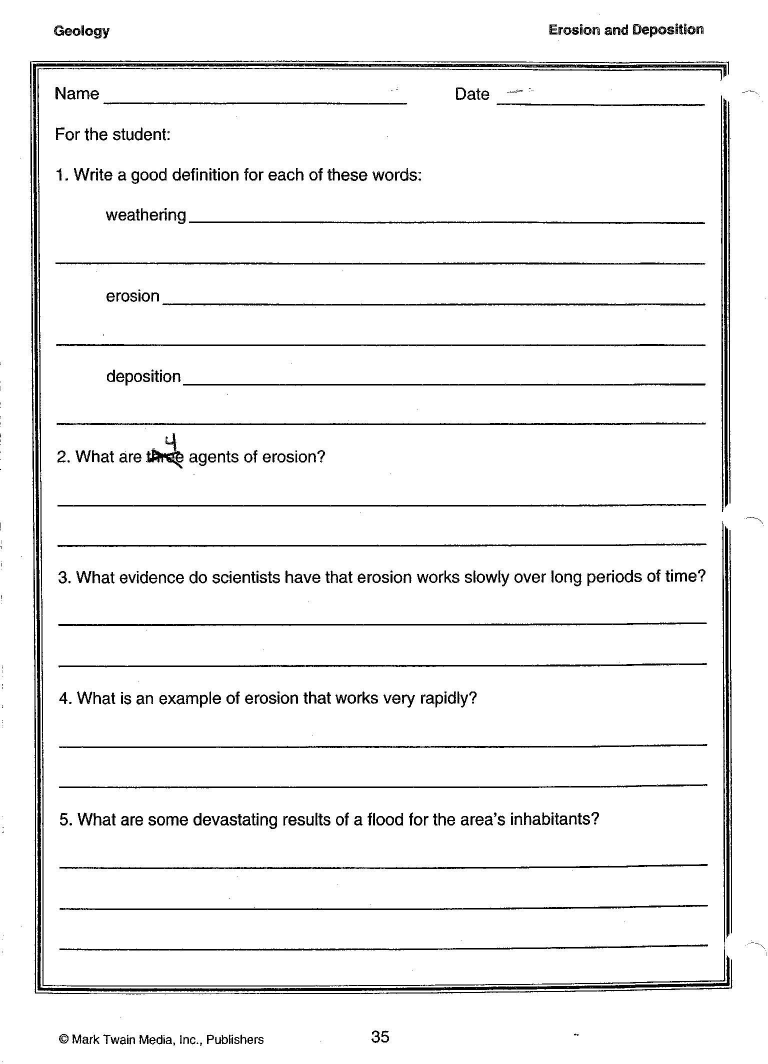 Energy Worksheets Middle School Pdf Erosion and Deposition Definitions 001 1536—2128