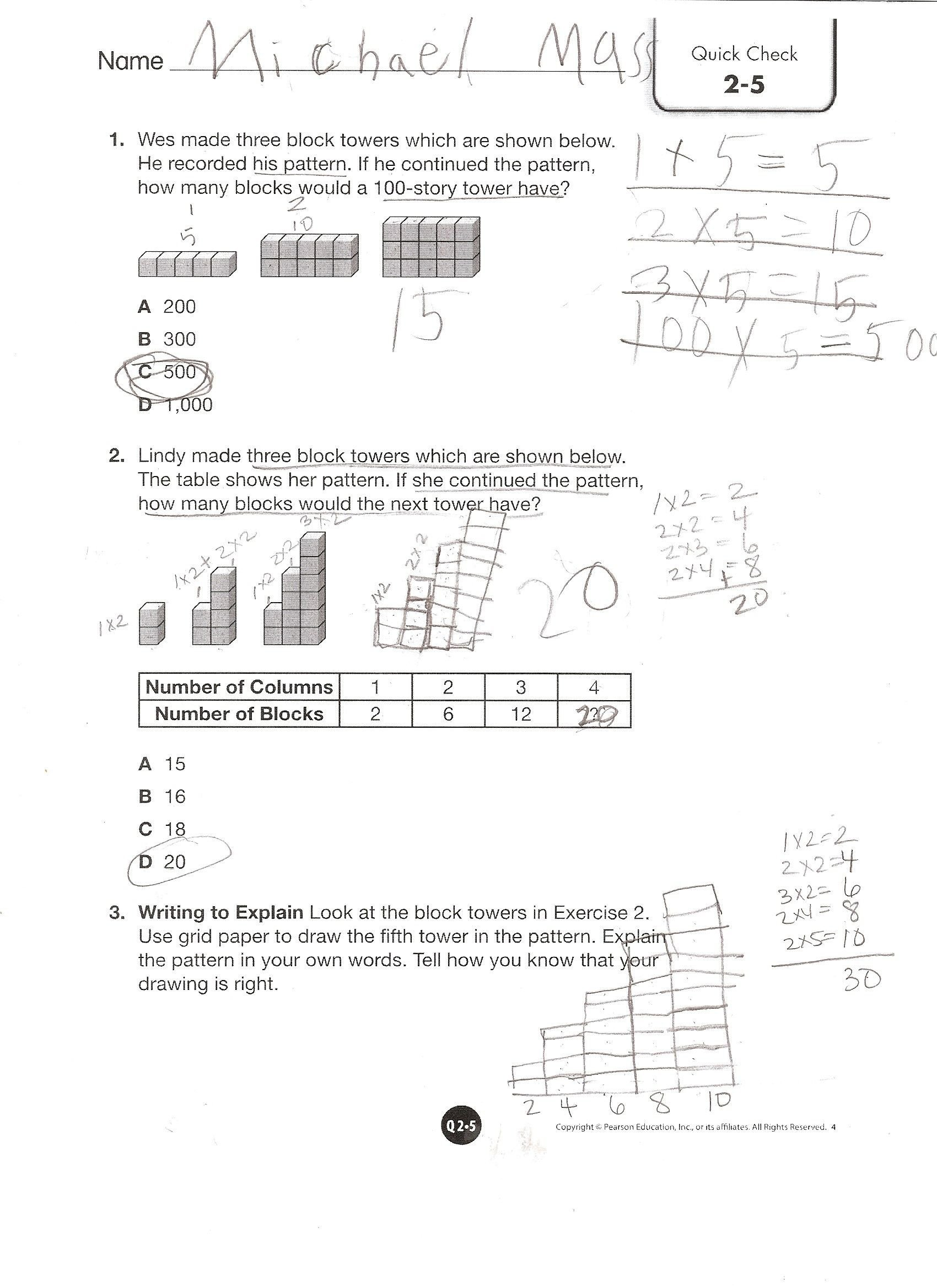 Envision Math Kindergarten Worksheets Envision Math Grade 4 topic 2 5 Quick Check