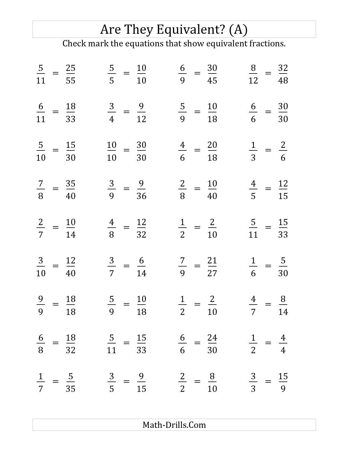 Equivalent Fraction Worksheets 5th Grade the are these Fractions Equivalent Multiplier Range 2 to 5