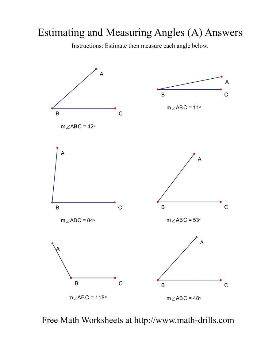 Estimating Measurement Worksheets Measuring Angles A
