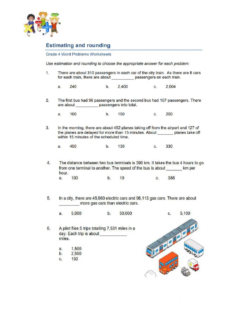 Estimating Numbers Worksheets Estimating and Rounding Word Problem Interactive Worksheet