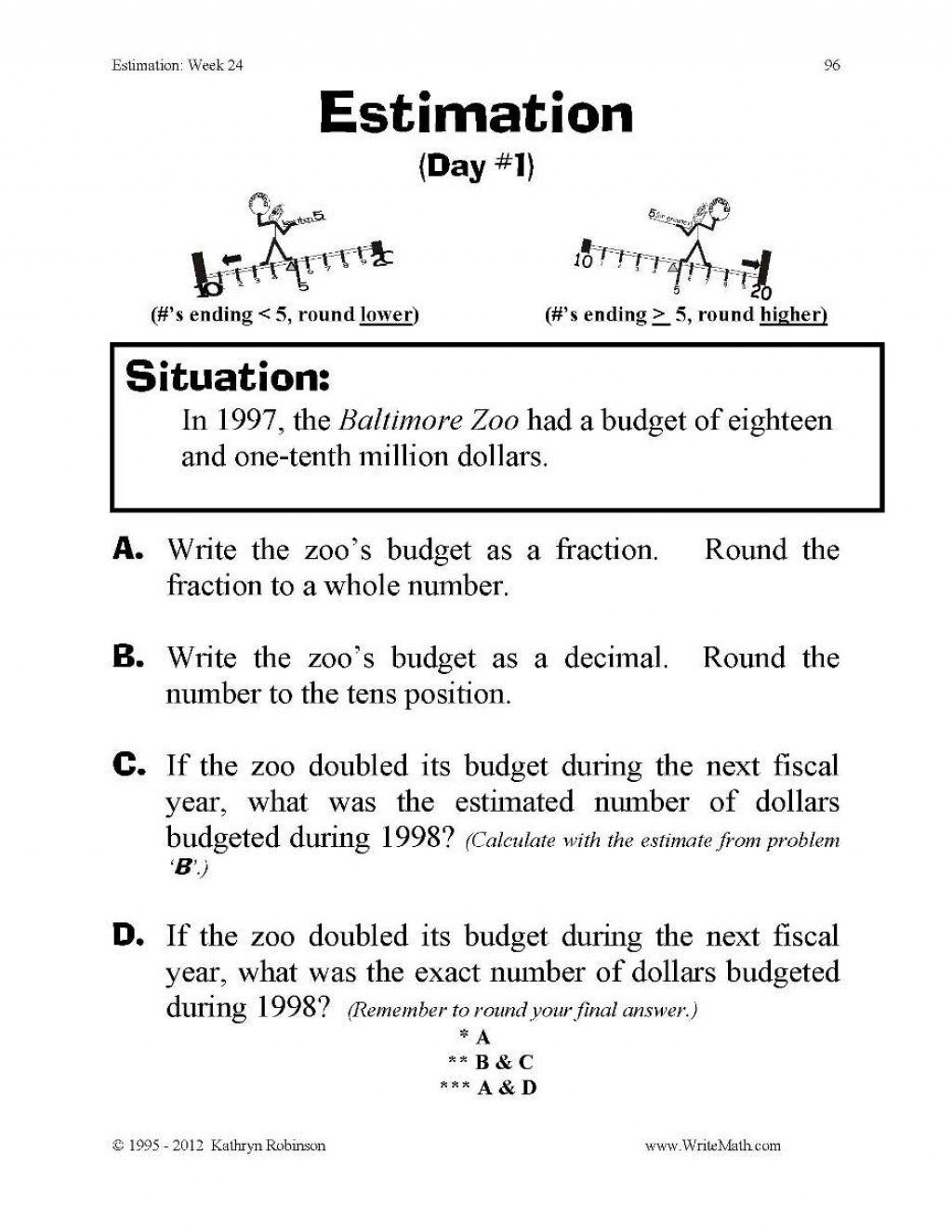 Estimation Maths Worksheets Front End Estimation Worksheets