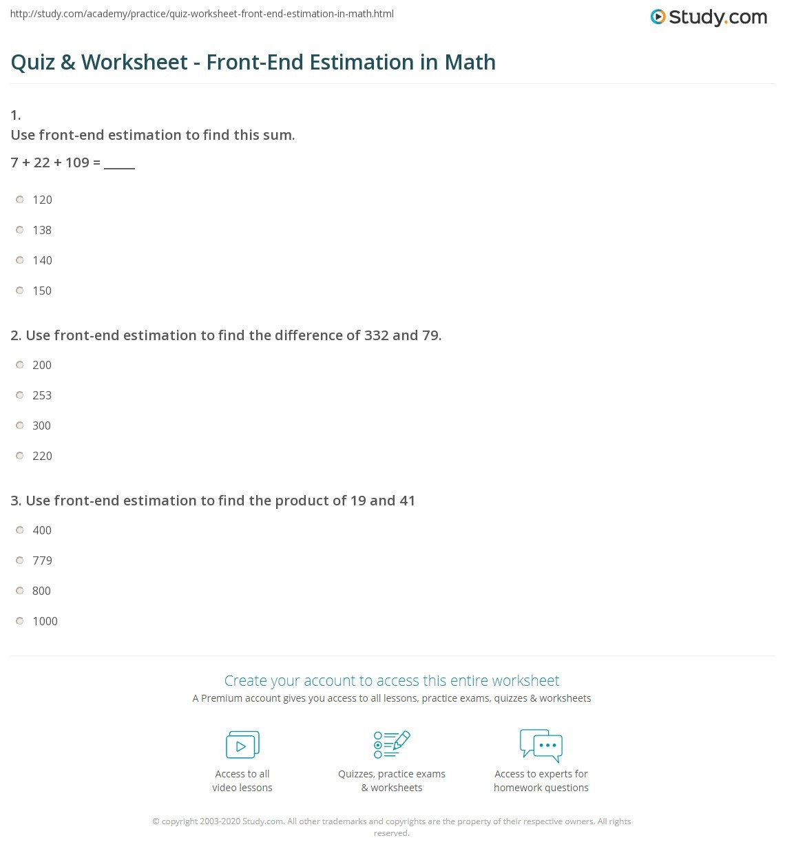 Estimation Maths Worksheets Quiz & Worksheet Front End Estimation In Math