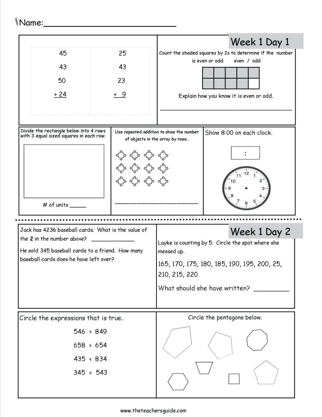 Everyday Math 4th Grade Worksheets Worksheet Free Math Worksheets First Grade Addition Single
