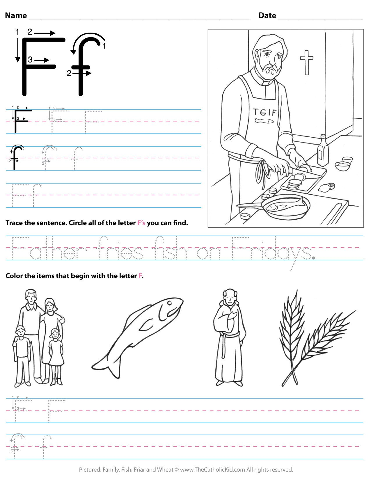 catholic alphabet letter f worksheet preschool kindergarten cnt mls