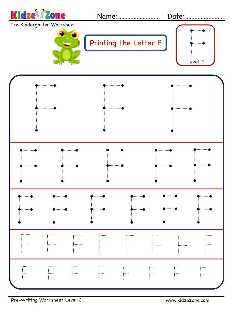 Pre Writing Letter F Tracing worksheet Different Sizes