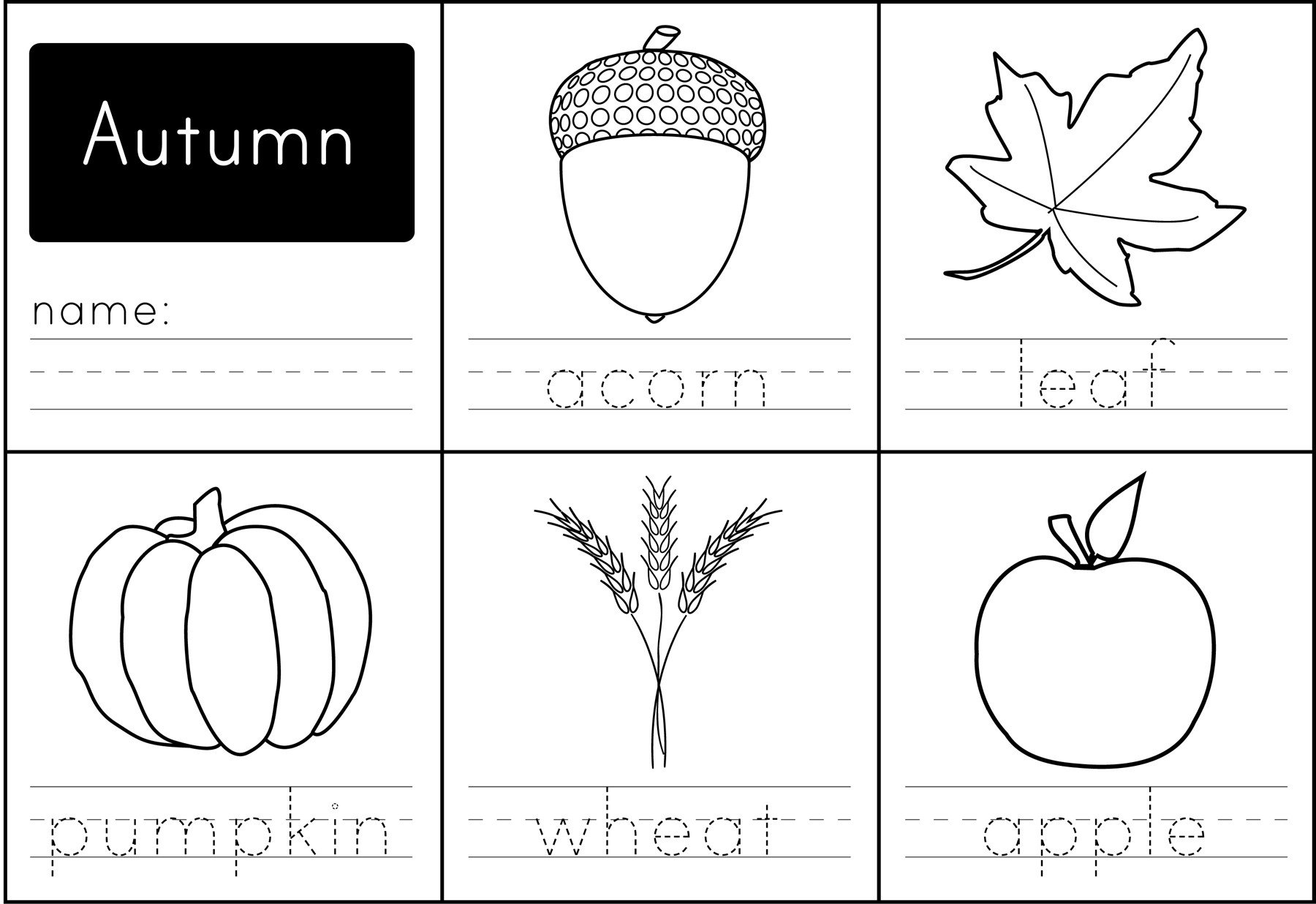 Fall Worksheets for Kindergarten Autumn Words Printable Image Cropped Coloring Sheet Fall