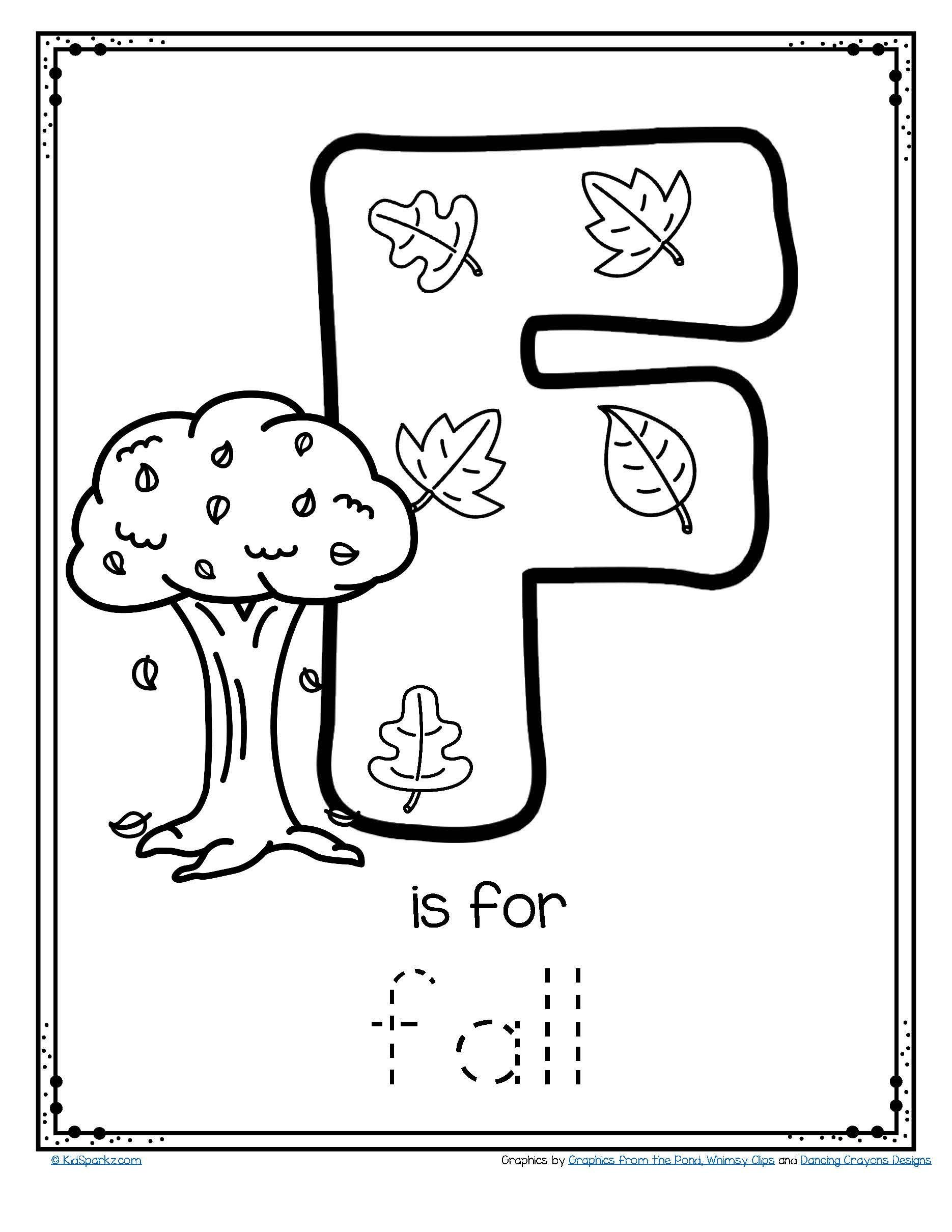Fall Worksheets for Kindergarten Coloring Free is for Fall Trace and Color Letter Printable