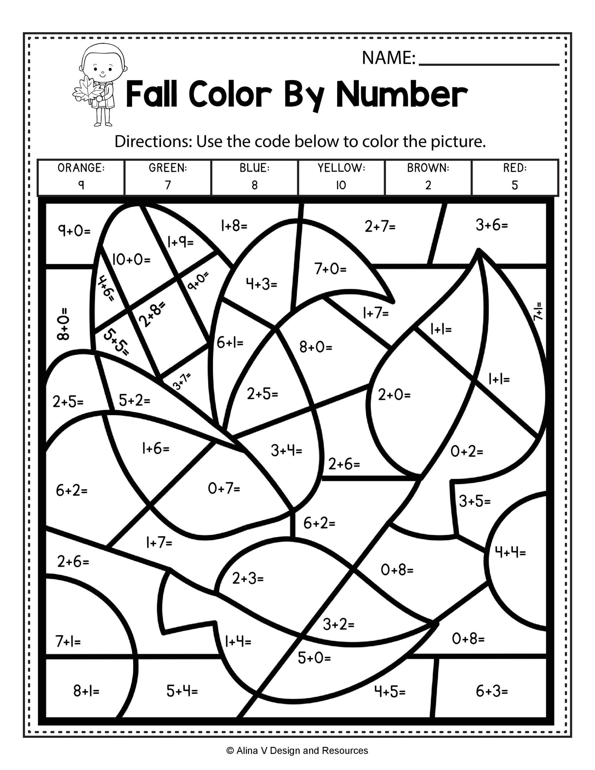 Fall Worksheets for Kindergarten Fall Color by Number Addition Math Worksheets and for