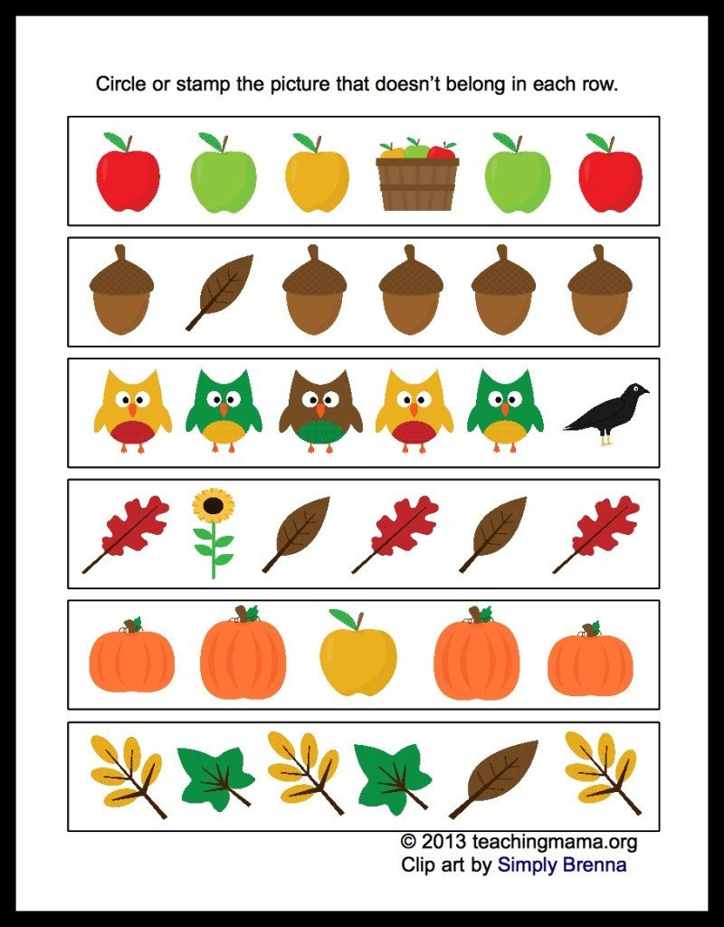 Fall Worksheets for Kindergarten Fall Math Packet for Preschoolers