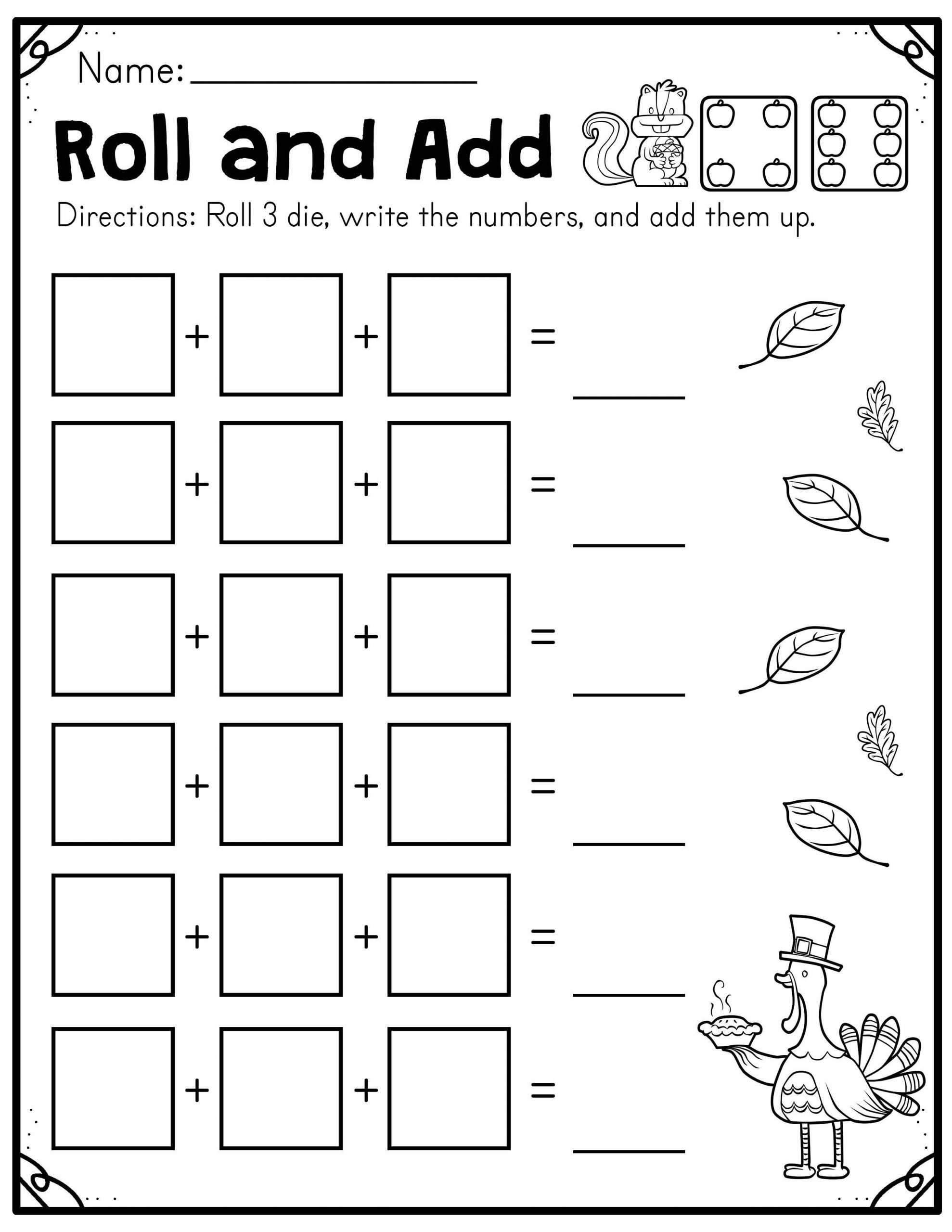 Fall Worksheets for Kindergarten Fall Roll and Add Worksheet First Grade Madebyteachers