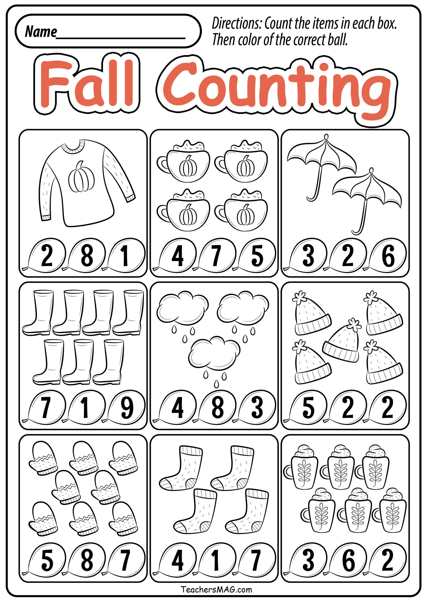 Fall Worksheets for Kindergarten Preschool Fall Math Worksheets Teachersmag Free Printable