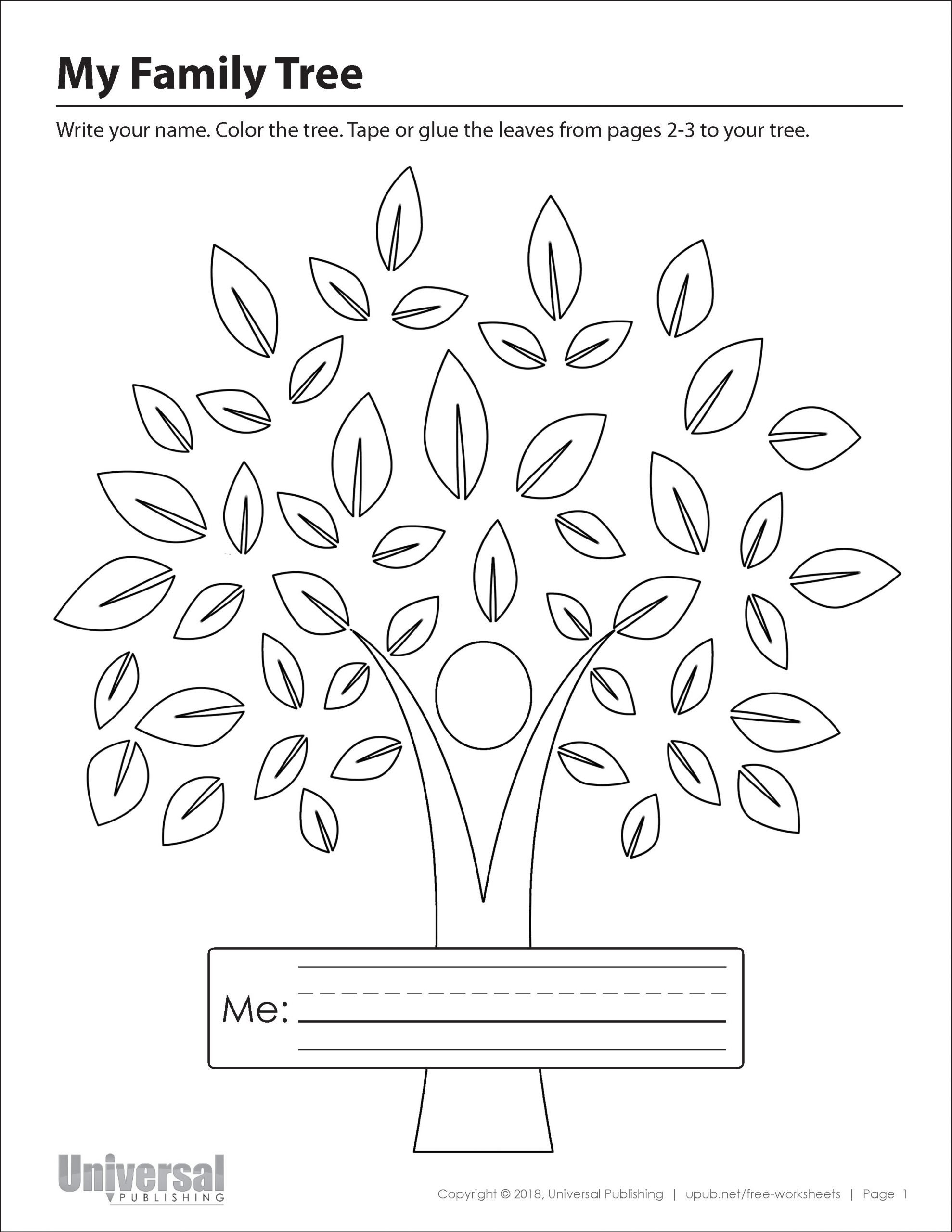 Family Tree Worksheets for Kids My Family Tree