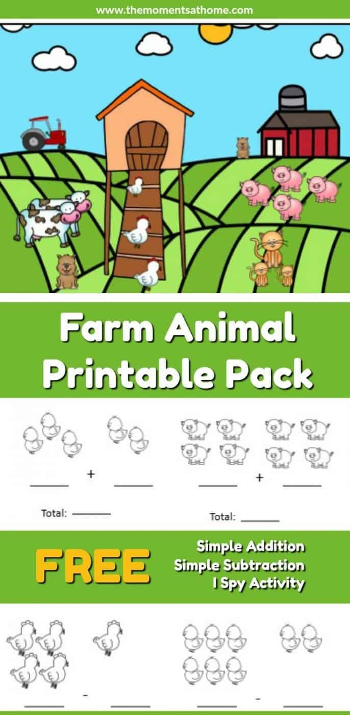Farm Animals Worksheets for Kindergarten Farm Animal Addition and Subtraction Worksheets the