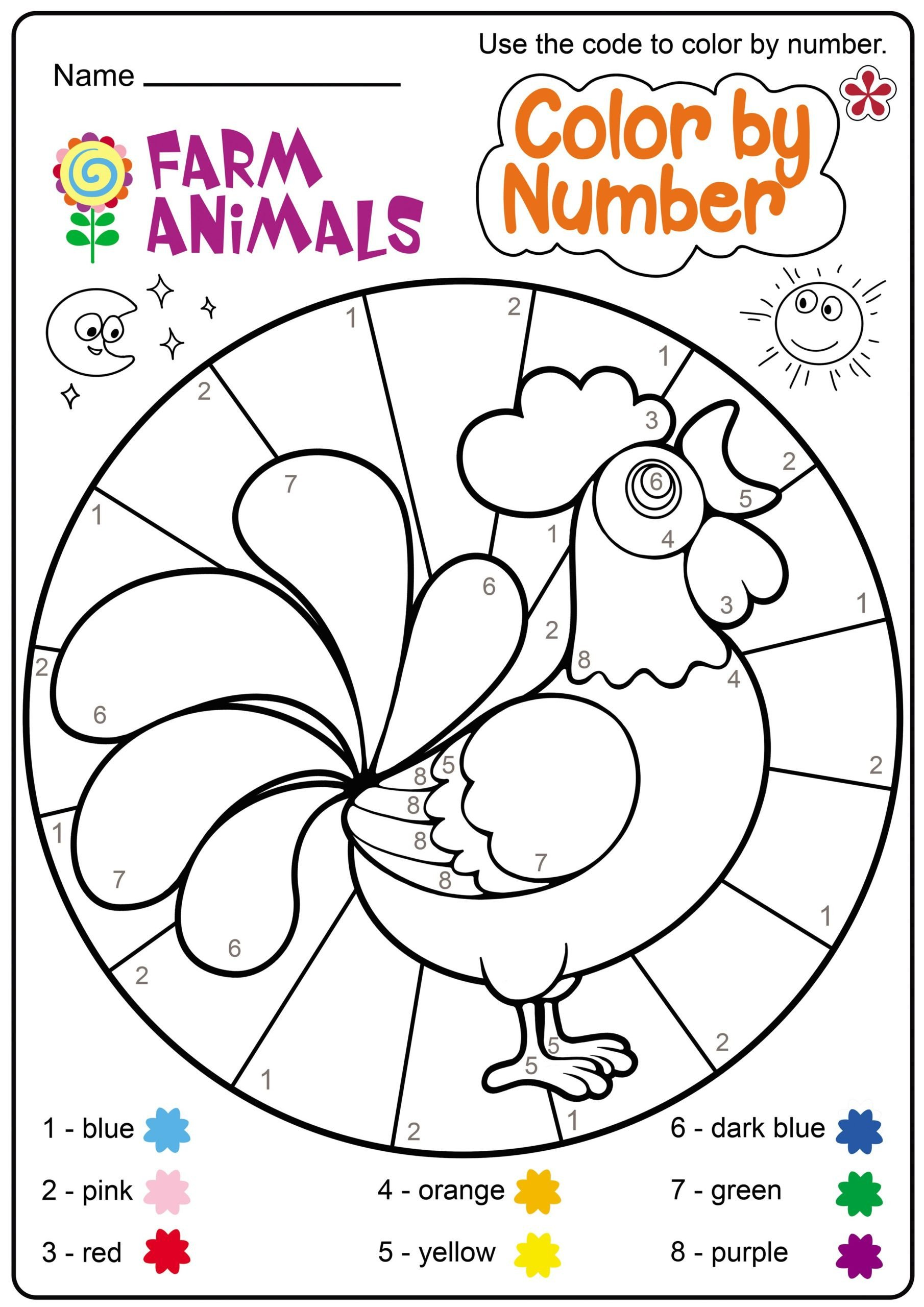 farm animal worksheet for free printable worksheets and zoo themed math color by number solve problem show steps problems toddler learning activities facts about multiplication scaled