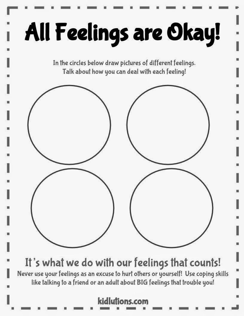 Feelings Worksheets for Kids All Feelings are Okay Free Printable Good to Use with