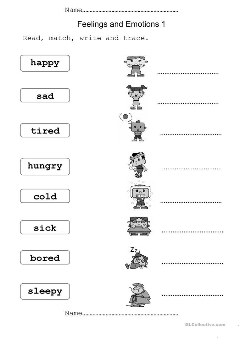 Feelings Worksheets for Kids English Esl Feelings Worksheets Most Ed 356 Results