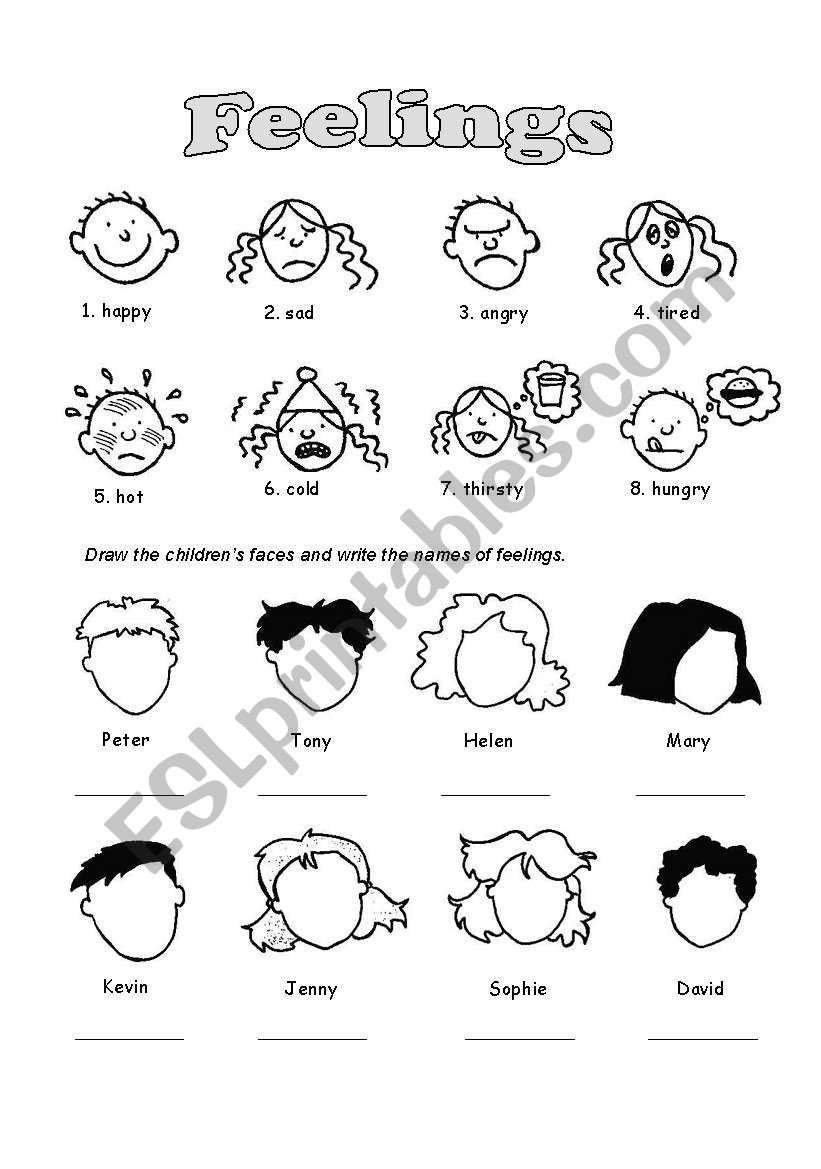 Feelings Worksheets for Kids Feelings Esl Worksheet by Izulia