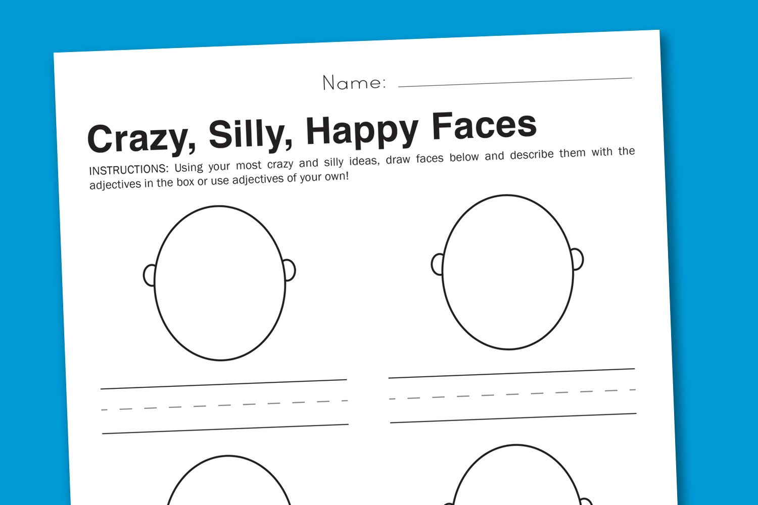 Feelings Worksheets for Kids Feelings Worksheet Silly Faces to Express Emotions