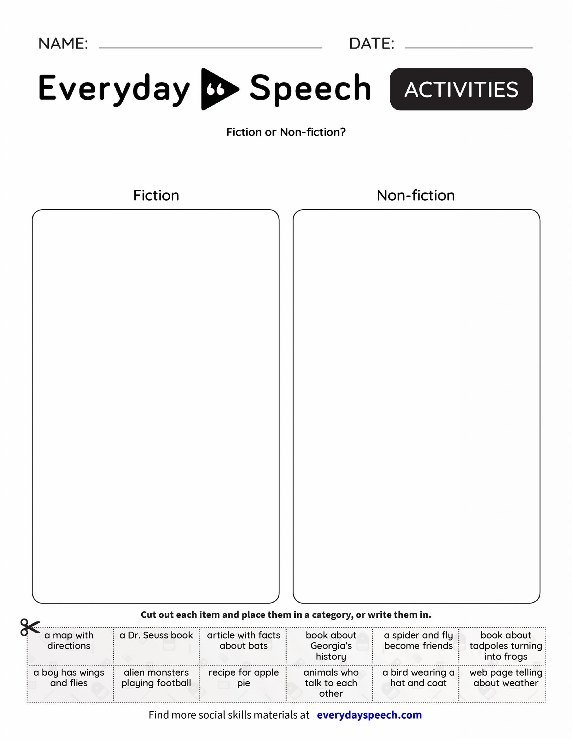 fiction or non fiction everyday speech everyday speech