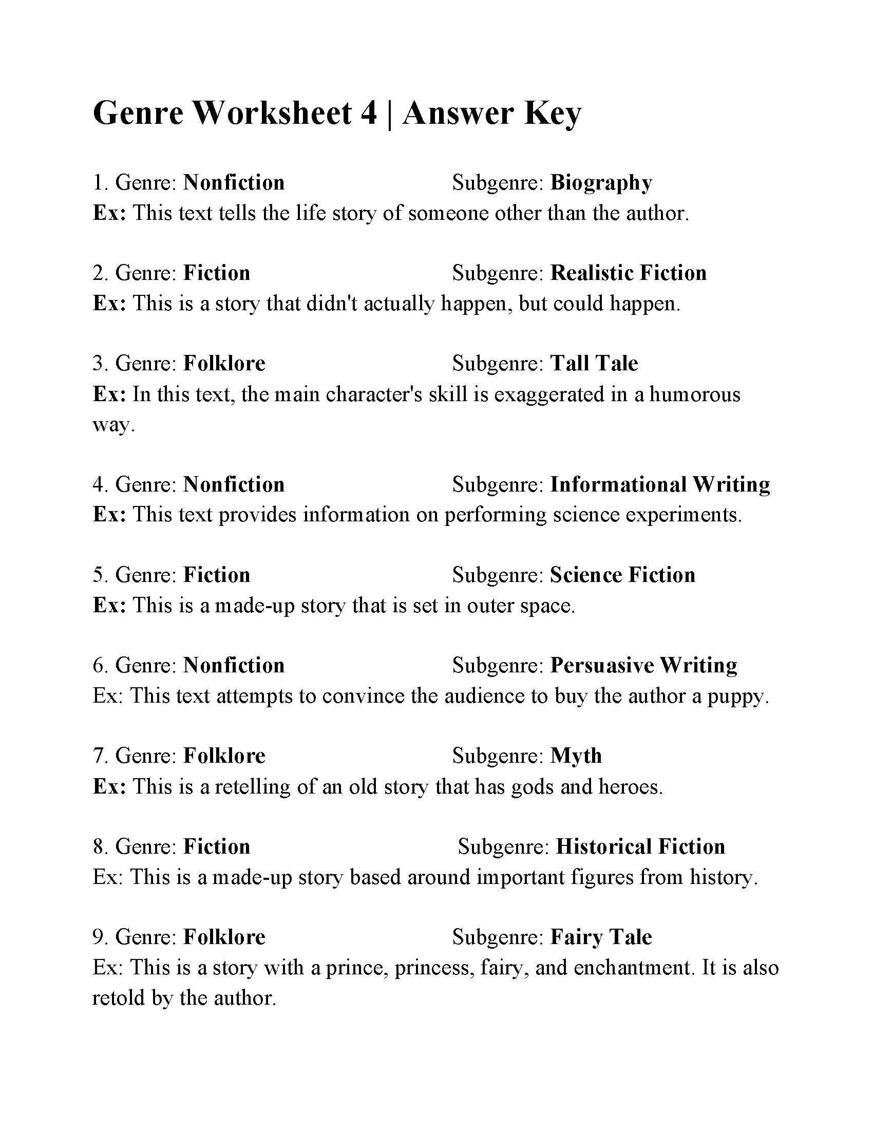 Fiction and Nonfiction Worksheets Pdf Genre Worksheet 4