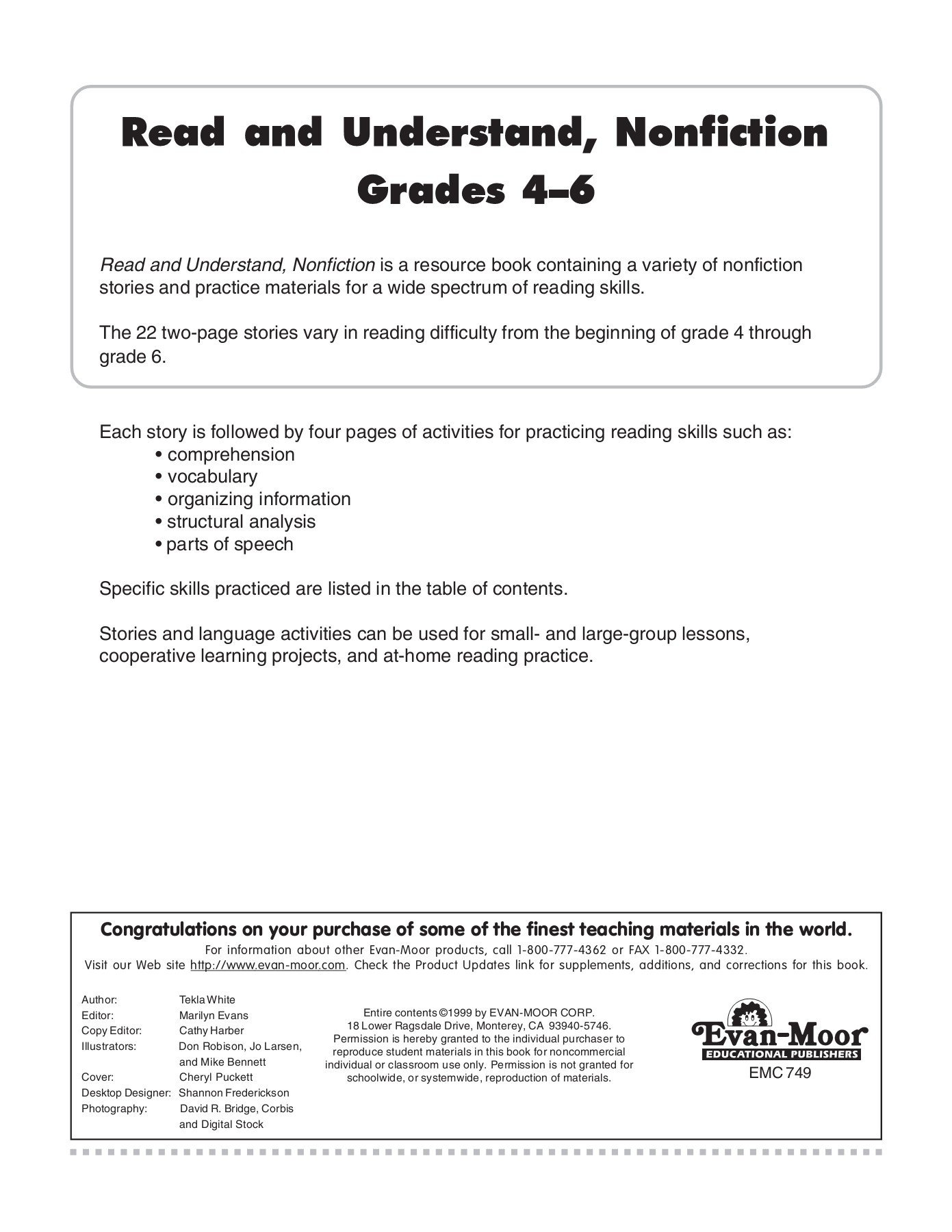 Fiction and Nonfiction Worksheets Pdf Read and Understand Nonfiction Grades Text Evan Moor Corp