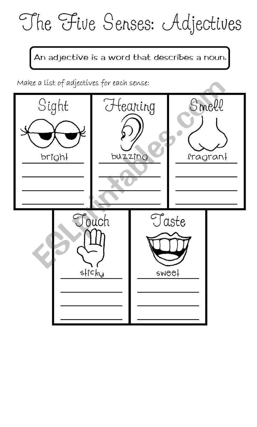 Five Senses Kindergarten Worksheet the Five Senses Adjectives Esl Worksheet by Rmmd