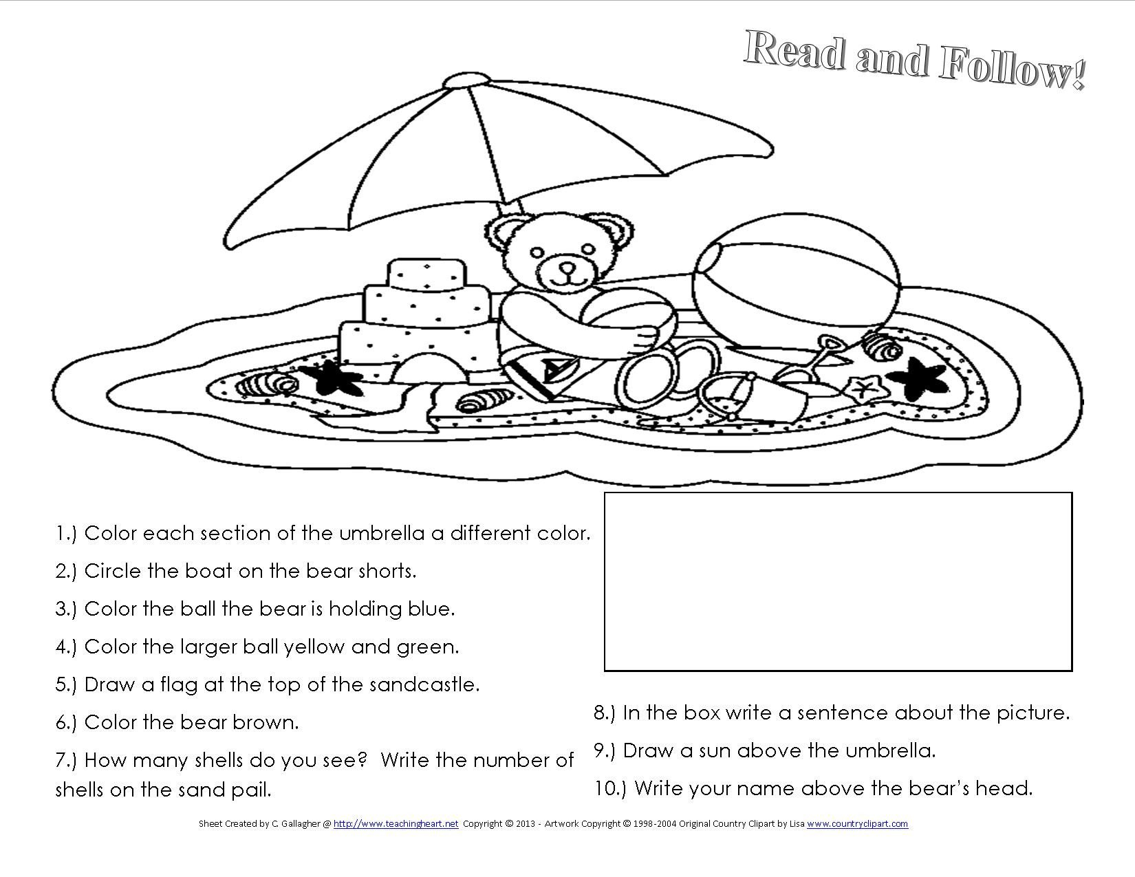 Following Directions Worksheets for Kindergarten A Beach Unit Beach Lessons Links Ideas and More for the