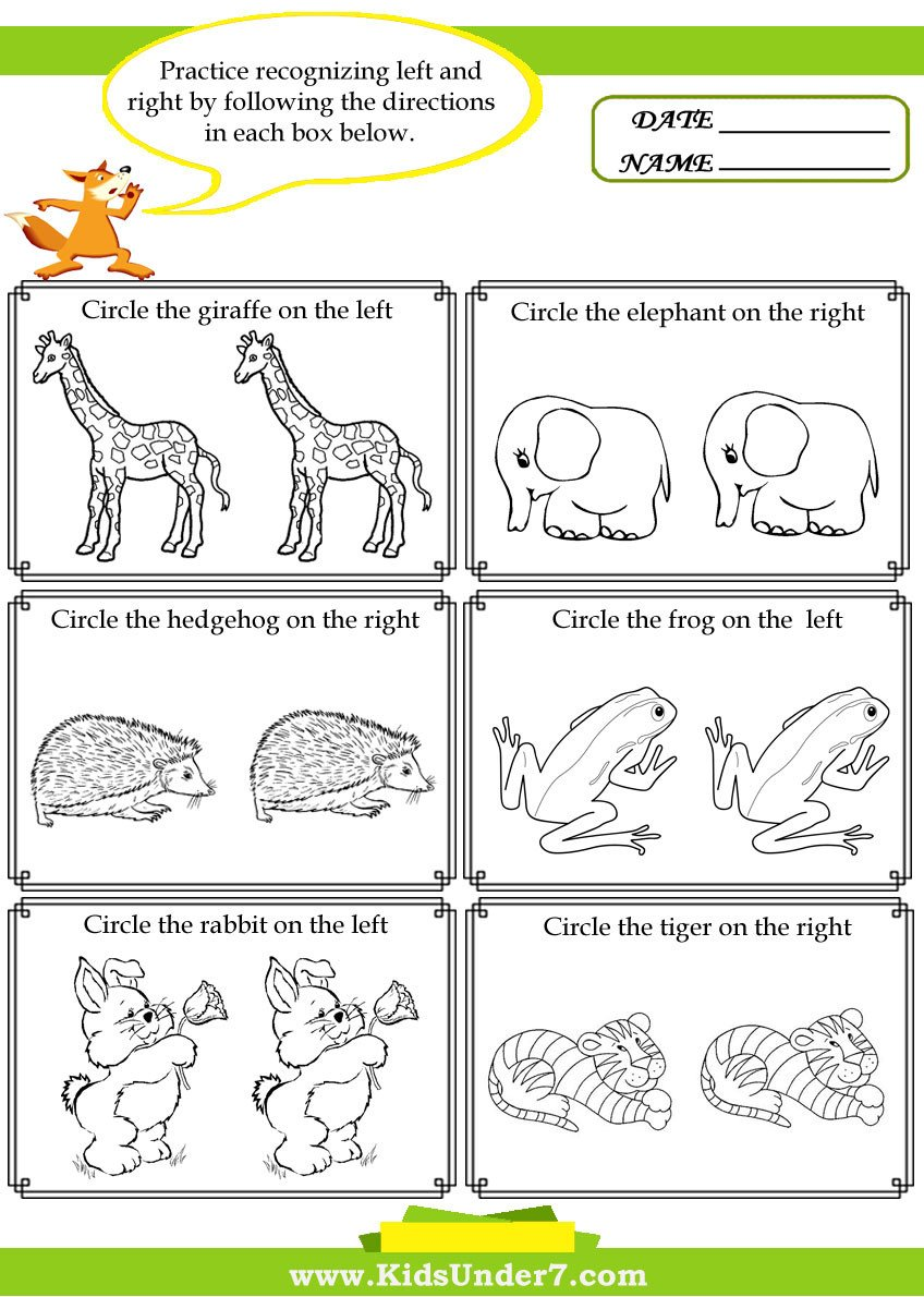 Following Directions Worksheets for Kindergarten Kids Under 7 Left and Right Worksheets