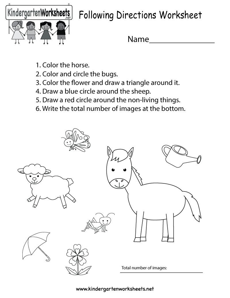 "Following Directions Worksheets for Kindergarten Kindergarten Wsheets On Twitter ""this Free Kindergarten"