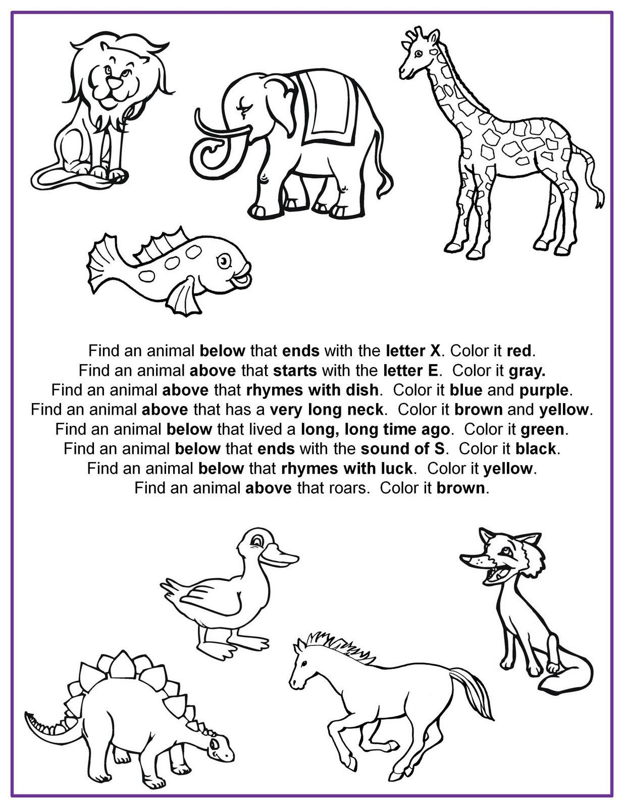 Following Directions Worksheets for Kindergarten Nonna and Me Find It Color It Following Directions