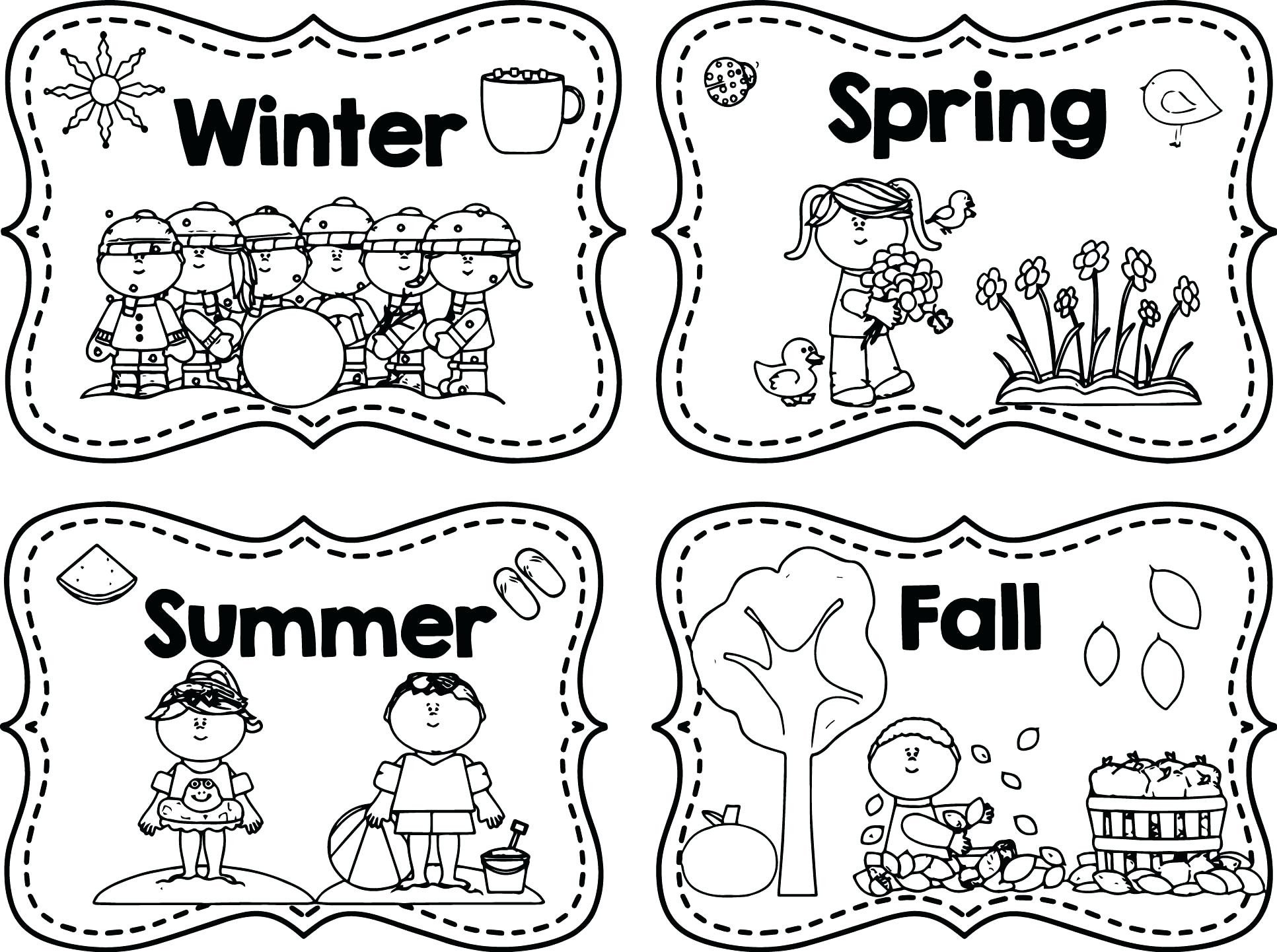 Four Seasons Kindergarten Worksheets Four Seasons Coloring for Kindergarten Weather and Climate