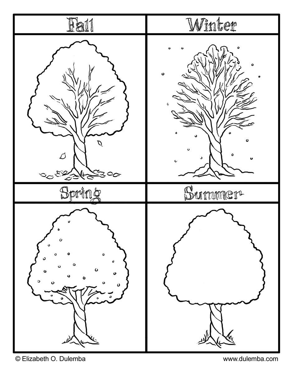 Four Seasons Kindergarten Worksheets the Four Seasons Colouring Pages
