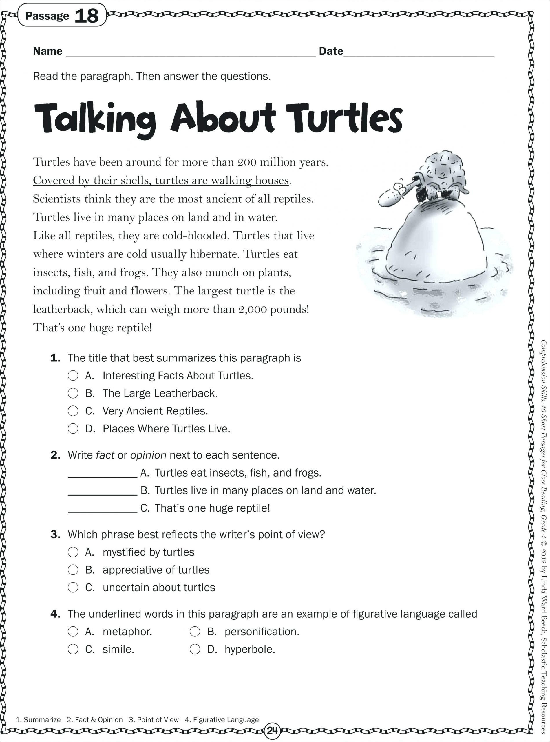 Free 1st Grade Comprehension Worksheets Math Worksheet Firstde Short Reading Passages Free with