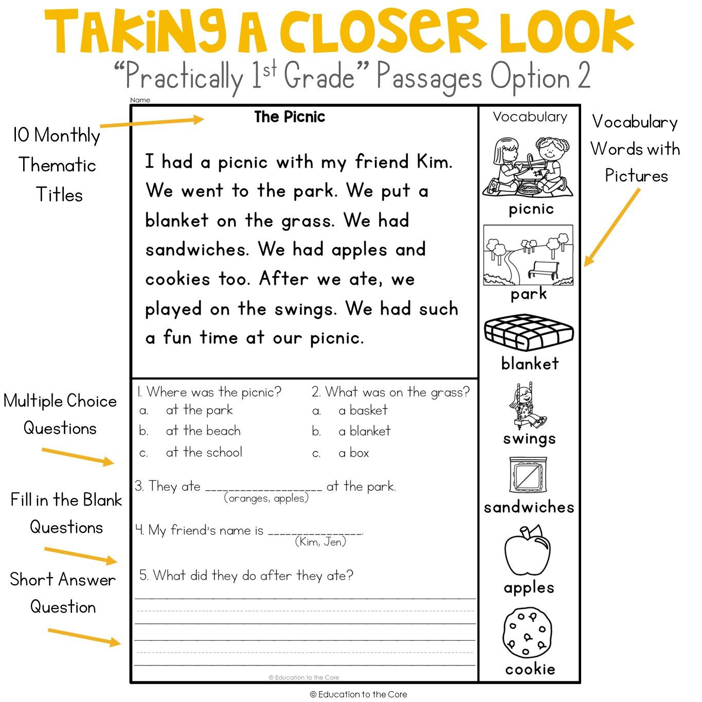 Free 1st Grade Comprehension Worksheets Math Worksheet Free First Grade Reading Prehension