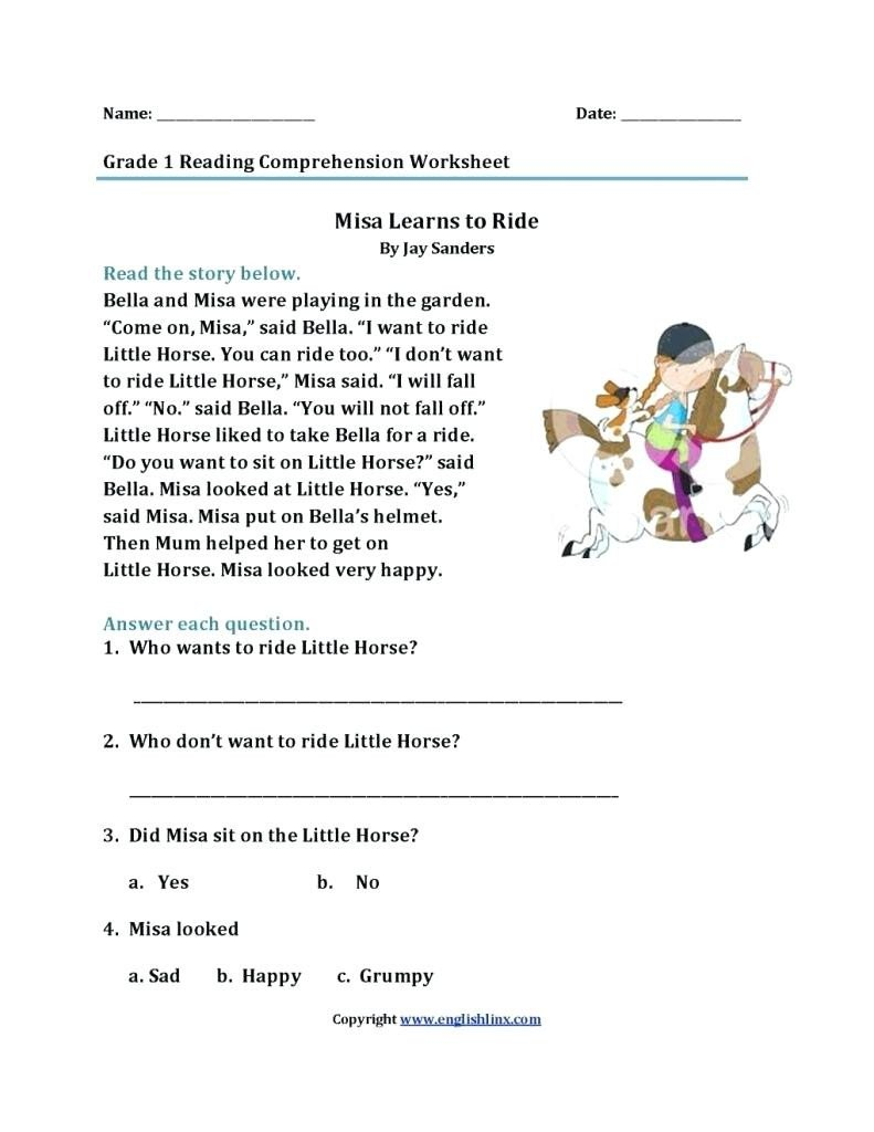 Free 1st Grade Comprehension Worksheets Worksheet Free 1st Grade Reading Prehension Worksheets