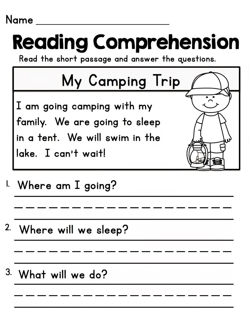 Free 1st Grade Comprehension Worksheets Worksheets for 1st Grade