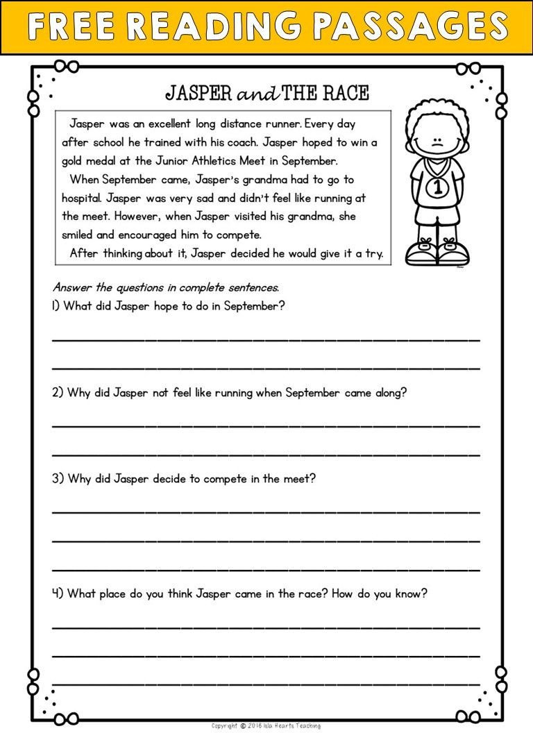 Second Grade Reading prehension Passages and Questions