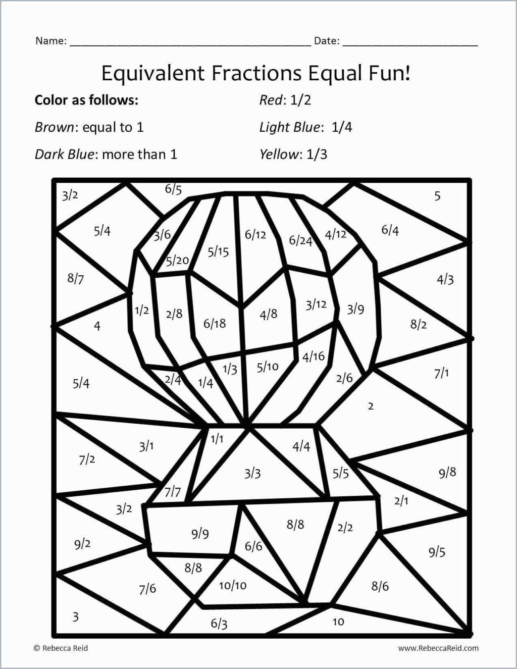 Free First Grade Fraction Worksheets Equivalent Fraction Coloring Sheets 4th Grade Fun 1st Free