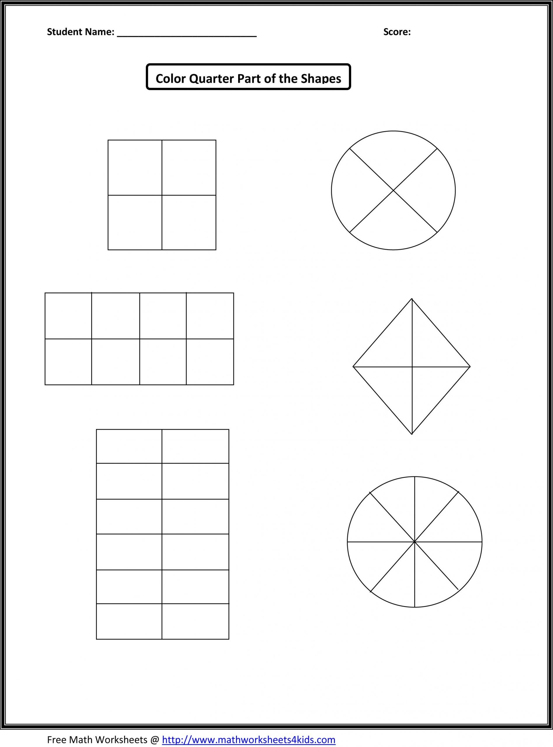 Free First Grade Fraction Worksheets First Grade Math Worksheets