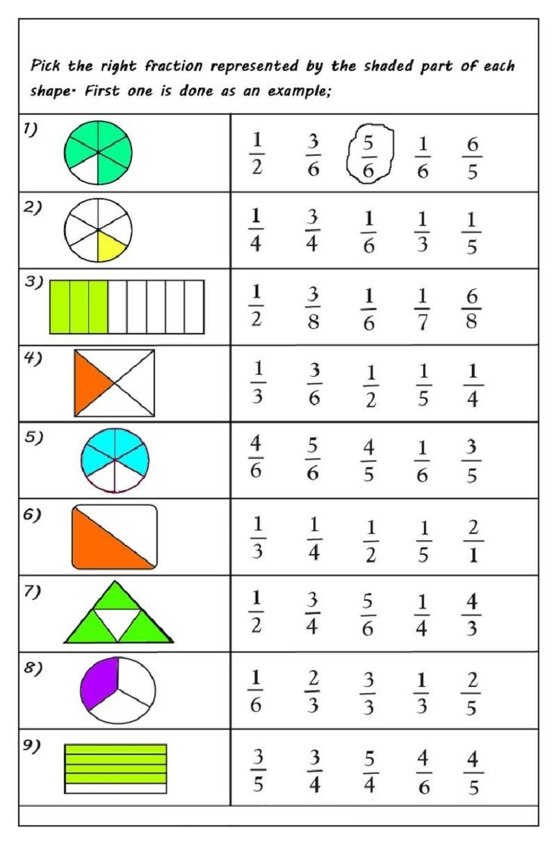 Free First Grade Fraction Worksheets Fractions Worksheets for 2019