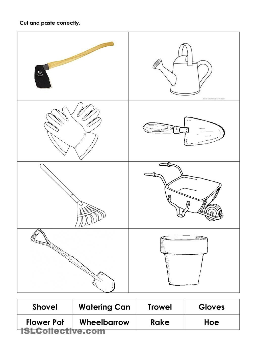 Free Horticulture Worksheets Garden tools Worksheet