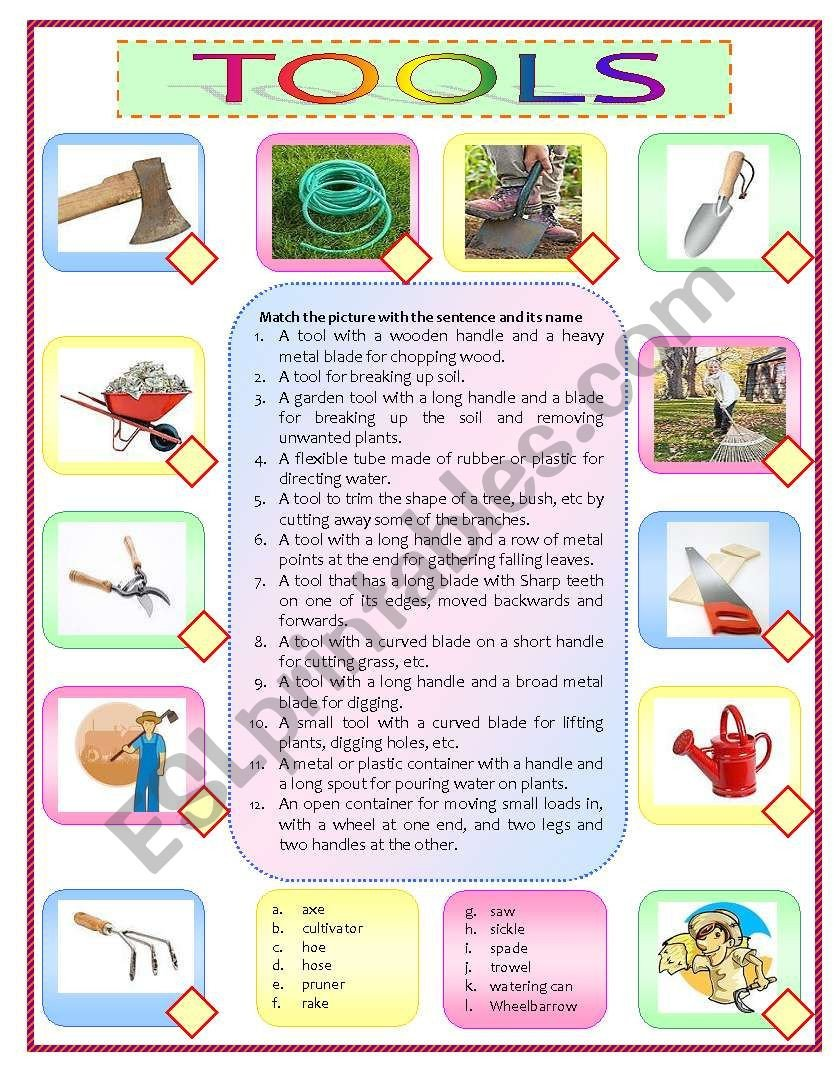 Free Horticulture Worksheets Gardening tools Esl Worksheet by Rhae