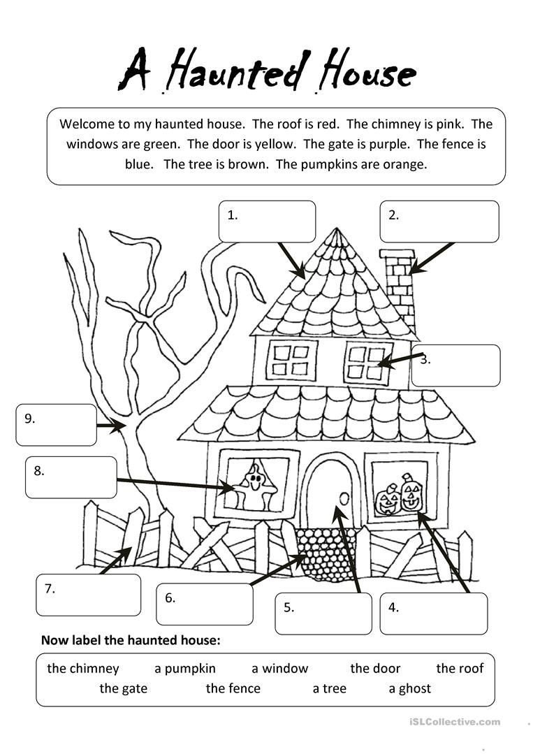 Free Kindergarten Halloween Worksheets Printable A Haunted House Undervisning