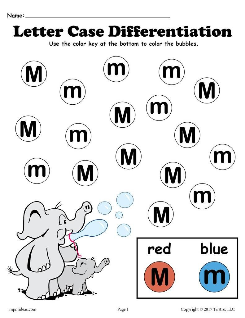 Free Letter M Worksheets Letter M Do A Dot Printables for Letter Case Differentiation Practice