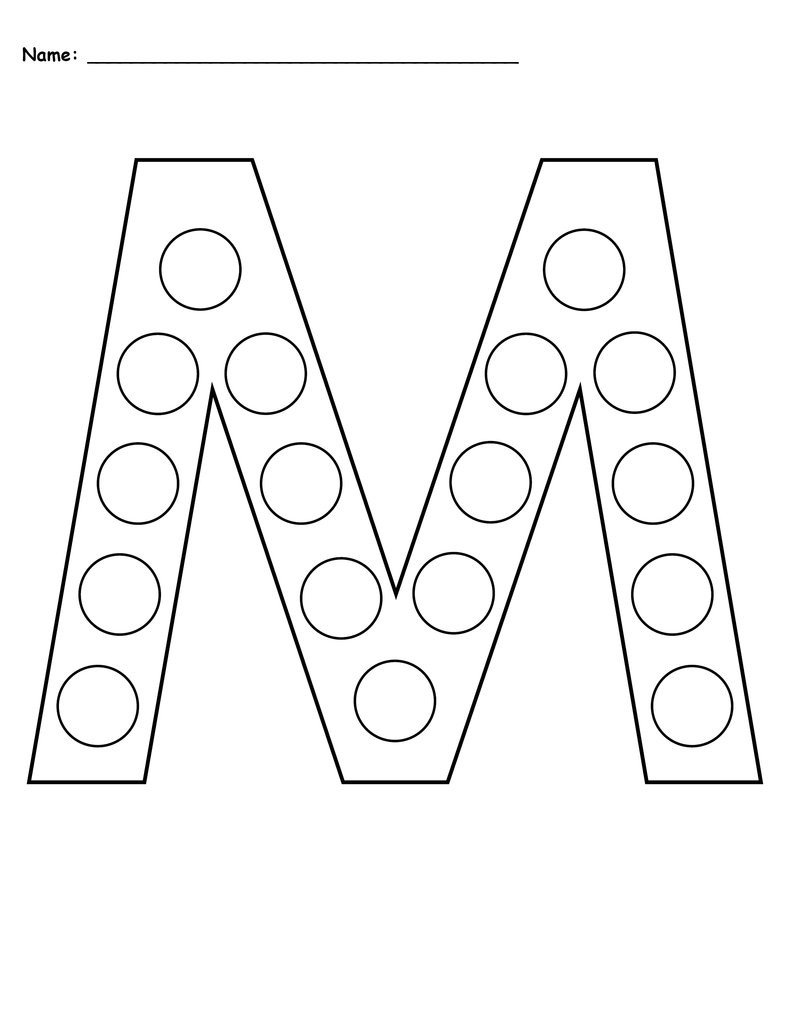Free Letter M Worksheets Letter M Do A Dot Printables Uppercase & Lowercase