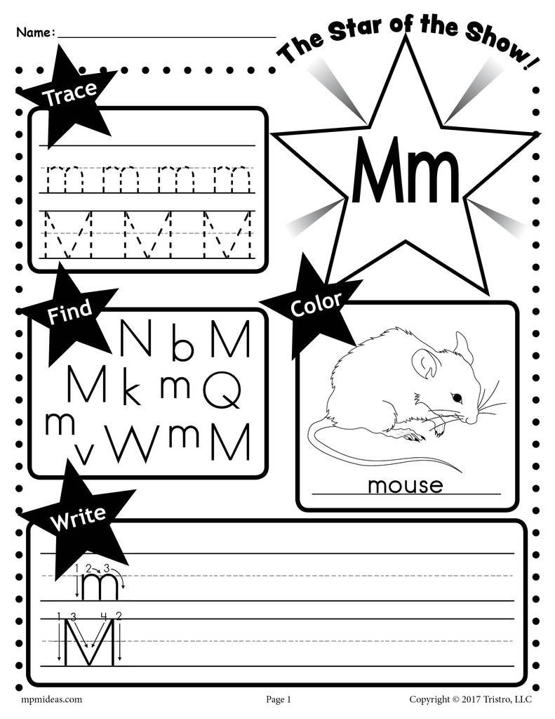 Free Letter M Worksheets Letter M Worksheet Tracing Coloring Writing & More