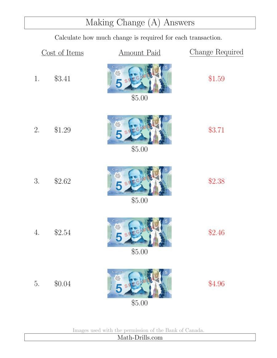 Free Making Change Worksheets Making Change From Canadian $5 Bills A